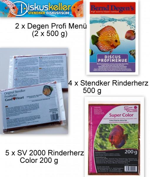 Rinderherz Mix Menü (2 x Degens Profi Menü (2x 500g) / 4 x Stendker Rinderherz 500g / 5 x SV 2000 Co