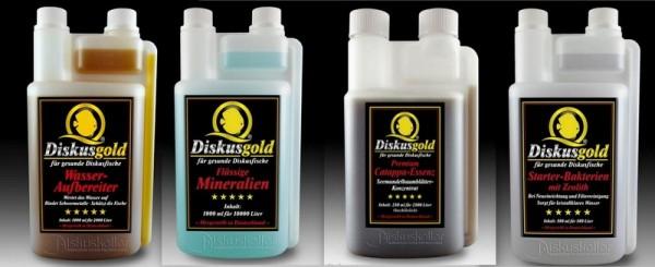 Sparpaket Diskusgold Mineralien 1000ml + Catappa Essenz 250ml + Bakterien 500ml + Wasseraufbereiter