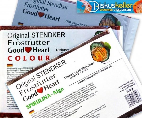 10 x Stendker GoodHeart MIX (normal/COLOUR/SPIRULINA) Diskusfutter: 500g Flachtafel Sparpaket