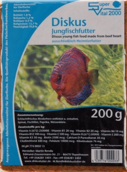 SV 2000 Jungfischfutter 200g Flachtafel