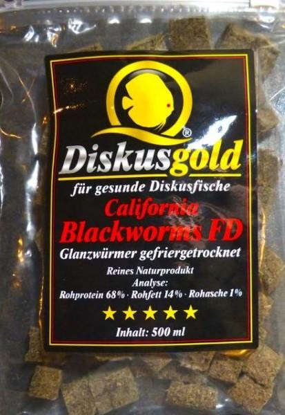 Diskusgold California Blackworm FD, Glanzwürmer gefriergetrocknet, 500 ml in Würfeln