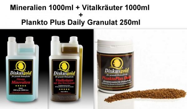 Sparpaket Diskusgold - PlanktoPlus Daily Granulat 250ml + Mineralien 1000ml + Vitalkräuter 1000ml