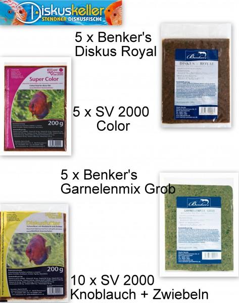 25 x Benker's / SV 2000 (5 x Color / 10 x Knoblauch/Zwiebel / 5 x Royal / 5 x Garnelenmix) á 200g Fl