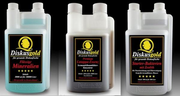 Sparpaket Diskusgold flüssige Mineralien 1000ml + Catappa Essenz 250 ml + Starter Bakterien 500 ml
