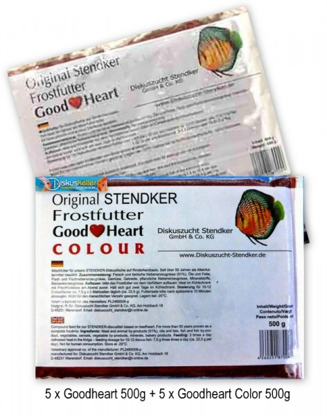 10 x Stendker GoodHeart MIX ( 5 x normal / 5 x COLOUR ) Diskusfutter je 500g Flachtafel - Sparpaket