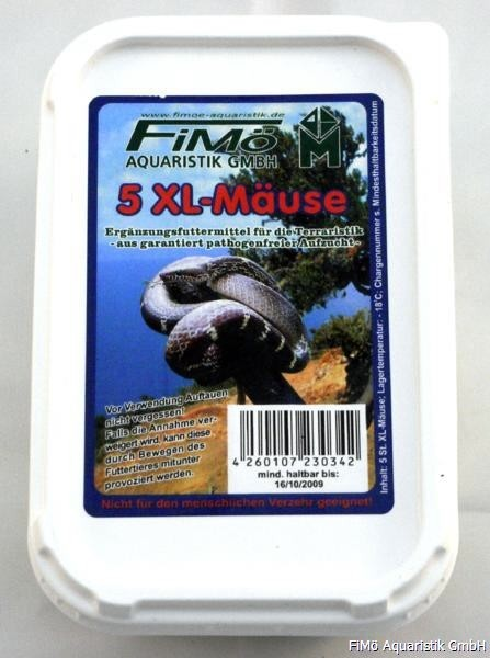 5 XL-Mäuse, verp. i. Beutel u. PS-Dose