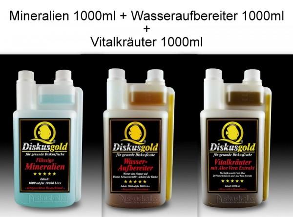 Sparpaket Diskusgold Flüssige Mineralien 1000ml + Wasseraufbereiter 1000 ml + Vitalkräuter 1000 ml
