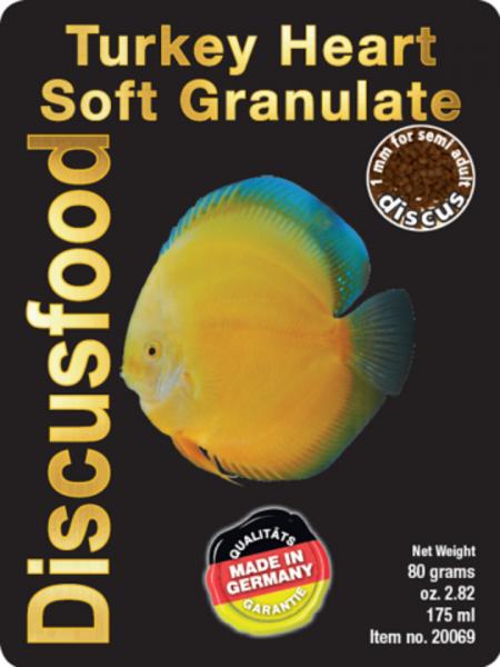 Turkey - Heart Discusfood - Softgranulat 80g - Truthahnherz - besonders geeignet für gelbe Fische
