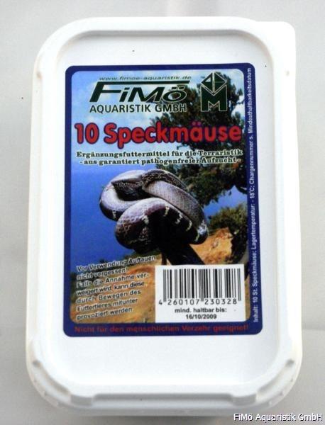 10 Speckmäuse, verp. i. Beutel u. PS-Dose