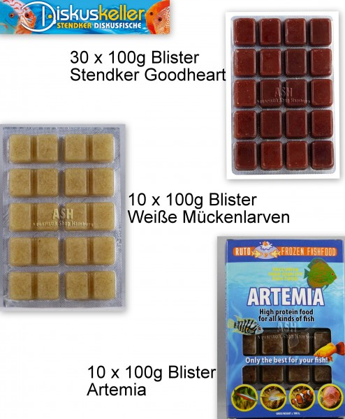 30 x Stendker GoodHeart + 10 x Weiße Mückenlarven + 10 x Artemia á 100g Blister Sparpaket